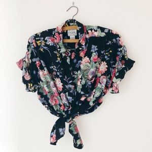Vintage 90's floral black rayon button up shirt M